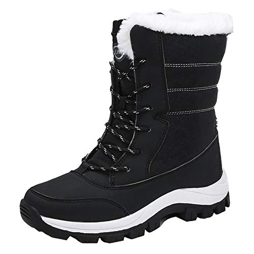 SHENMINJ Frauen Stiefel wasserdichte Winter Schuhe Frauen Schnee Stiefel Plattform Warm Halten Stiefeletten Winter Stiefel Mit Dicken Pelz Heels,Schwarz,37