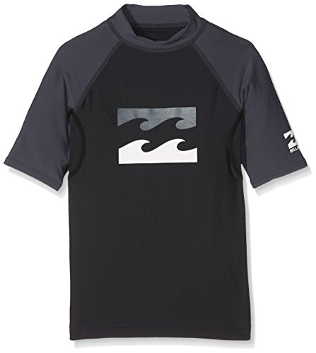 Billabong Kinder Team Waves Short Sleeve Boy Rashguard, Black, 10 (Team-logos Seide)