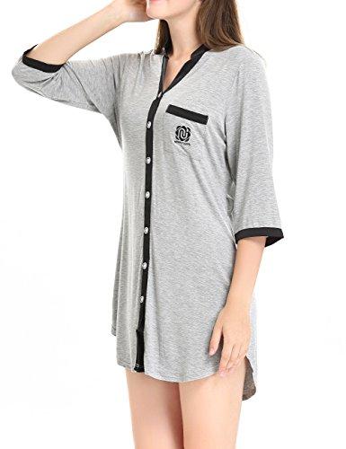 Damen 3/4 Lang Nachthemd Knopfleiste Nachtkleid Negligee Sleepshirt mit Gürtel by NORA TWIPS Grau