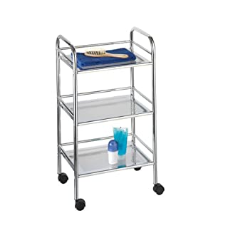 axentia Patira 3-tier Chromed Bathroom Kitchen Storage Trolley with Wheels, Multifunctional, Universal Storage Cart with 3 Shelves, Serving Clearing Cart, approx. 40 x 32 x 74 cm, Silver