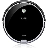 ILIFE Robot ILIFE A6 Saugroboter für Bodenarten/über 2 Stunden Laufzeit mit Gummi-Lamellen-Bürste für Tierhaare/Sensor, Raumtrennung, 72mm flach, Piano Schwarz