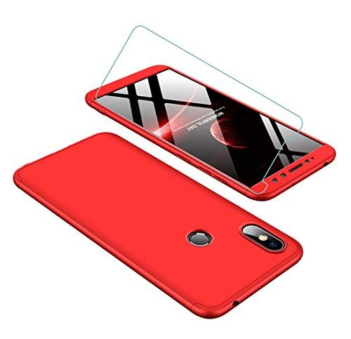 Funda Xiaomi Redmi S2 360 Grados Rojo Ultra Delgado Todo Incluido Caja del teléfono de la Protección 3 en 1 PC Case + Protectora de Película de Vidrio Templado JOYTAG-Rojo