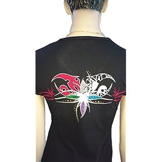 Srazda - Tee-shirt noir - Femme - col v - Coupe cintrée ajustée - Manches courtes - Dessin fleurs au dos