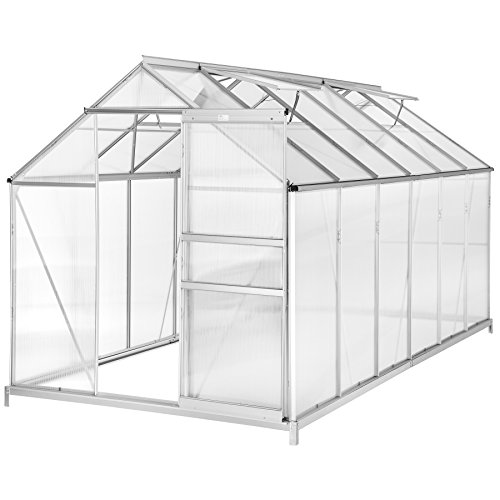 tectake Serre de Jardin avec Base alu Polycarbonate Tente abri Plante Jardinage - diverses modèles (375x185x195cm avec Base | No. 402478)