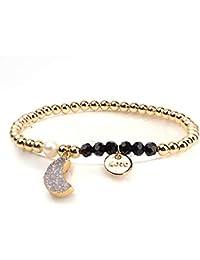 0cb0ef30345b ZUXIANWANG Pulseras Love Pendant Bracelet Piedra Natural Color Oro elástico  Cordones de Cobre Pulsera de Mujeres
