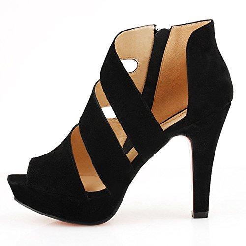 Oasap Women's Peep Toe Platform Cut out High Stiletto Sandals Black