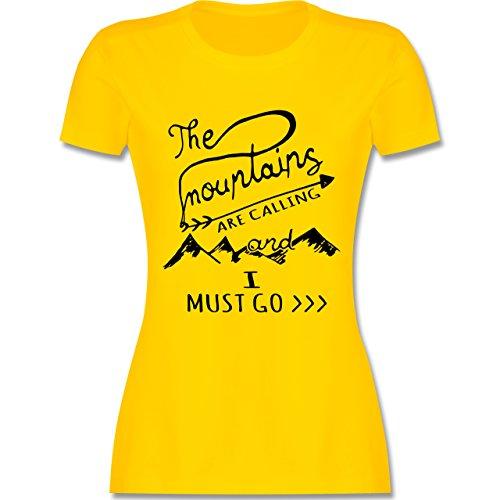 Tinte Gelb T-shirt (Wintersport - The Mountains Are Calling - M - Gelb - L191 - Damen Tshirt und Frauen T-Shirt)