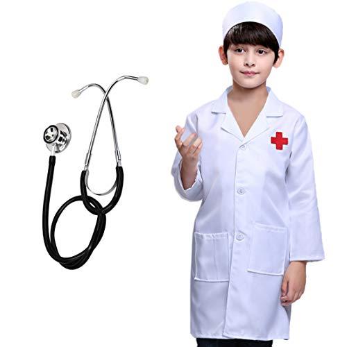 Morginy Arztkittel Kinder, 110cm Arzt Kinderkostum Rollenspiel Kostüm Set für Kinder (Arzt, Kinder Kostüme)