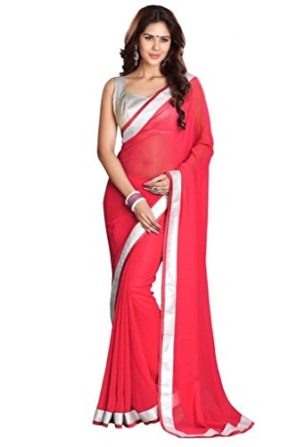 Reeva Trendz Georgette Saree With Blouse Piece (Pink_Pink_Free Size)