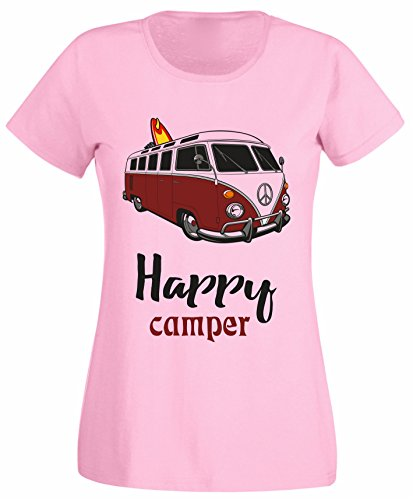 SuperPraise Happy Camper Camping Vintage Van Day Out Slogan Women T Shirt Birthday Christmas - White, Light Pink, Grey Colour Ladies Tshirt