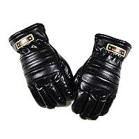 Allsunny Gloves 1 Pair Men Faux Leather Fleece Warm Lined Full Finger Outdoor Sports Gloves Black