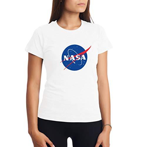 NASA Space Astronaut Geek Nerd Logo Blanca Camiseta para Mujer S