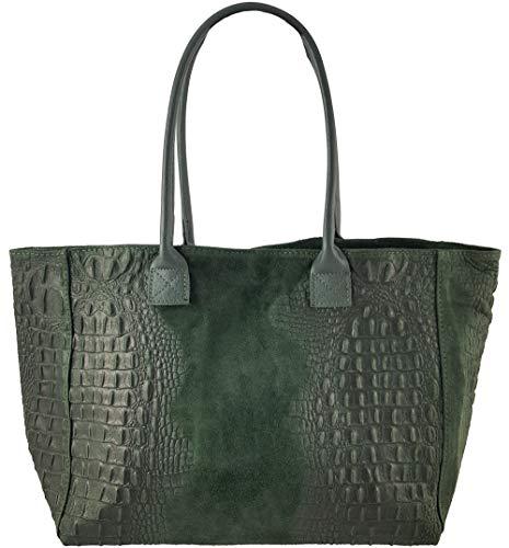 Kroko Leder (Freyday Damen Henkeltasche Handtasche Kroko Schlangen Strauß Optik versch. Farben 100% Leder (Kroko Dunkelgrün))