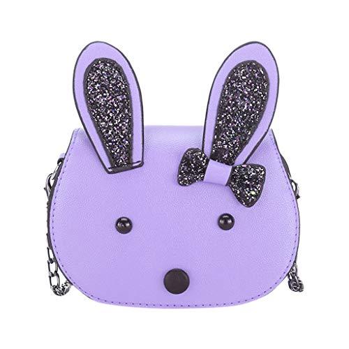 Dorical Umhängetasche für Kinder Süß Rabbit Kindertasche, Klein Messenger Handtasche Schultertasche, für Kinder, Mädchen, aus PU-Leder, für 3-12 Jahre geeignet Ausverkauf(Lila)
