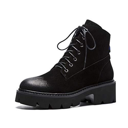 MISS&YG Leder Damenstiefel Herbst Und Winter Kurze Stiefel Muffin Plattform Wasserdichte Plattform Martin Stiefel,Black,36 - Black Leder-plattform