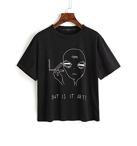 CharMma Damen Oberteil Sommer Casual Alien Druck Kurärmelig T-Shirt Crop Top (Schwarz, XL)