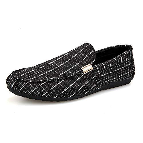 CATEDOT Driving Loafer für Herren Boot Mokassins Slip On Style Stoff Material Low Top Lightweight Round Toe (Color : Schwarz, Größe : 44 EU) Lightweight Boot Top