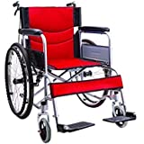 GJX Carro portátil Viejo, Silla de Ruedas Plegable de Acero, Scooter con discapacidad,