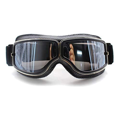 Retro Motorradbrillen Brille Aviator Cruiser Motorradbrillen Vintage Leder für Harley Brillen