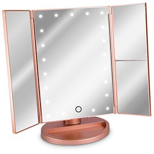 Navaris LED Kosmetikspiegel Faltbarer Standspiegel - beleuchteter Schminkspiegel Make Up Spiegel 2-Fach 3-Fach Vergrößerungsspiegel - in Rosegold