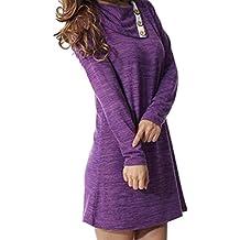 OverDose vestidos mujer fiesta elegante de cuello asimétrico de solapa manga larga