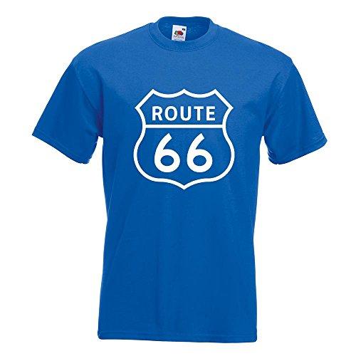 Kiwistar Route 66 T-Shirt in 15 Verschiedenen Farben - Herren Funshirt Bedruckt Design Sprüche Spruch Motive Oberteil Baumwolle Print Größe S M L XL XXL Royal