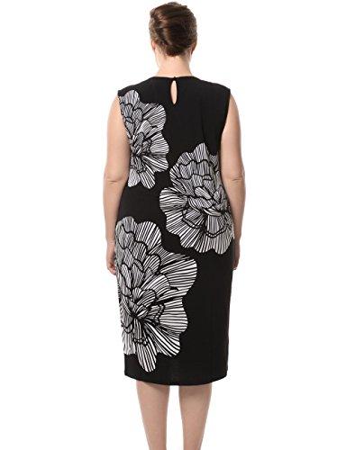 Chicwe Damen Kleid Große Größen aufgedruckte Blumen auf den Ärmeln EU44-60 Elfenbein/Schwarz