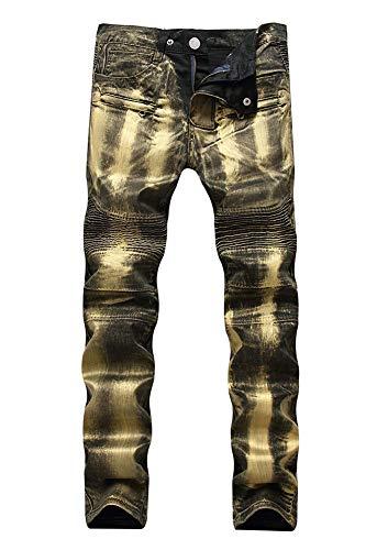 Versaces Männer Mittlere Taille Jeans Lokomotiv-Reißverschluss Schmale Passform Elastizität Gewaschen Hosen, Color 2, 38