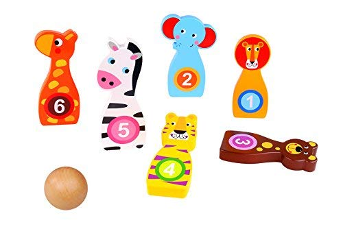 Bowling Spiel mit 1 Ball & 6 Tier Bowling Pins Holz Aktiv Spielzeug