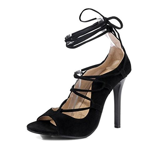 GLTER Ankle Strap delle donne delle pompe lacci incrociati High Top Sandali Court Shoes Rosso Nero Black