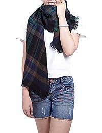 5ad581c91553 écharpe hiver femme foulard grande taille châle cache-col réversible  franges quadrillé - plusieurs couleurs