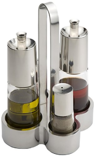 BRA Bella - Oil and vinegar set, 4 pieces, 18/10 stainless steel and glass