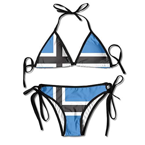 Rghkjlp Flag of Estonia Sexy Boxing Bikini Women Halterneck Top and Set Swimsuits Beach Swimming -