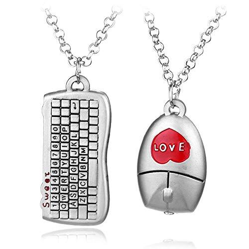 MAlex Halskette Kette 2 Stück Tastatur Maus Paar Halskette Legierung Plating - Weiblich-tastatur-maus