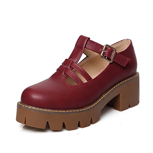 AllhqFashion Femme à Talon Correct Couleur Unie Boucle Rond Chaussures Légeres Rouge Vineux