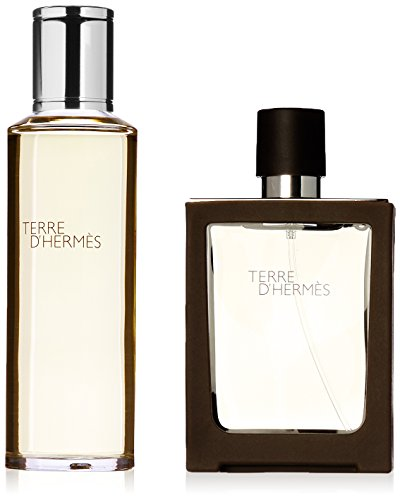 Hermès Terre Set Eau de Toilette nachfüllbares Travelspray, 30 ml mit Nachfüllung, 125 ml, 1er Pack, (1x 155 ml) - Eau De Toilette Spray Refill