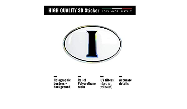 61 x 40 mm 4R Quattroerre.it 32128 Adesivo 3D Stickers Ovale I Italia HQ