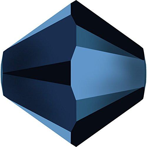 Swarovski Glasperlen zum Auffädeln Elements Doppelkegel 6mm (Crystal-Metallic Blue), 144 Stück - Bicone Crystal Swarovski 6mm