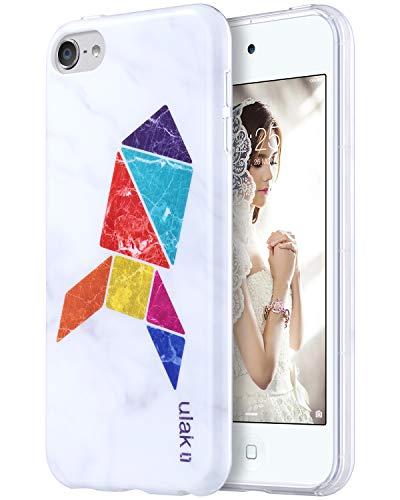 �r iPod Touch 6, schlankes Design, Kratzfest, flexibel, weiche TPU, Rückseite aus Polycarbonat, stoßfest, für Apple iPod Touch 5/6, Marble+Tangram Rocket ()