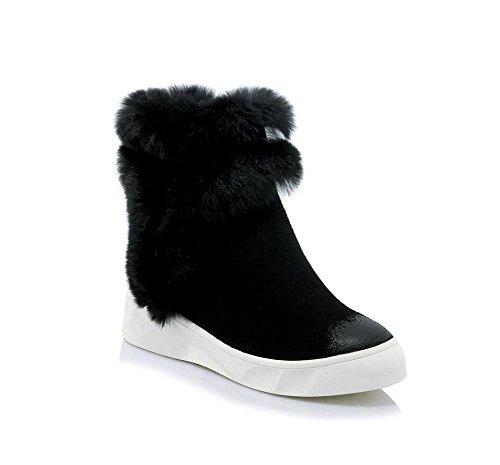 YYH Chaudes véritable cuir neige bottes Scrub femmes chaussures a augmenté de couleur Black
