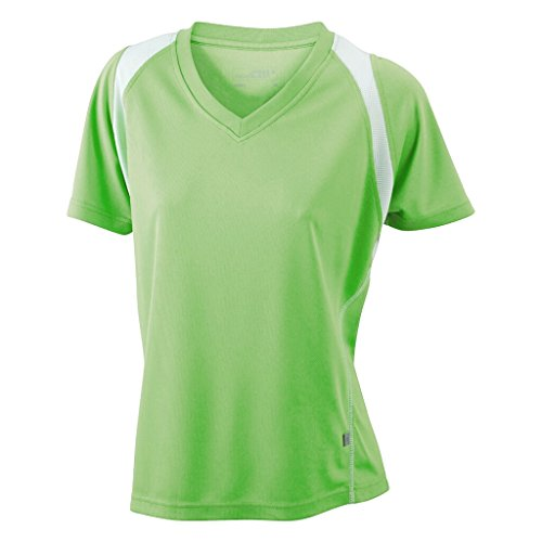 JAMES & NICHOLSON Atmungsaktives Laufshirt Lime-Green/White