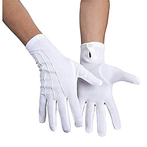 Rera Unisex Herren Damen 1 Paare Weiß Vollfinger Arbeitshandschuhe Handschuhe für Polizei Formal Tuxedo Ehrenschutz Parade - Kostüm Für Paare Fotos