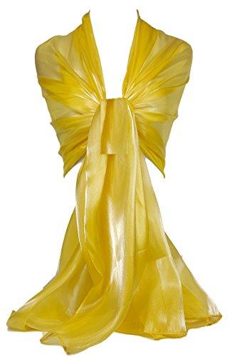 chimmernd, irisierend, Stola, ideal für Abend, Hochzeit, Partys, Brautjungfern, Bridal Wear oder Braut oder Ball Proms Gr. Large, Bright Gold (BRGSN) L:190cm (Gold Prom)
