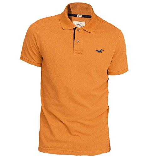 hollister-homme-stretch-contrast-pique-polo-top-shirt-courte-taille-medium-orange-624777571