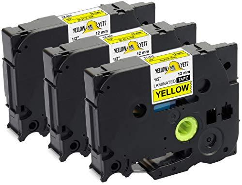 Yellow Yeti 3 Cassette Nastri Laminati TZe-631 TZ-631 nero su giallo 12mm x 8m Etichette compatibili per Etichettatrici Brother P-Touch PT-1000 PT-H100R PT-H100LB PT-H107B PT-H110 PT-D400 PT-D600VP
