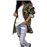 HEFASDM Womens Mid Long Pockets Long-Sleeve Lapel Camouflage Coat Jacket Pattern1 M