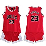 Daoseng Ragazzi Uomo NBA # 23 Bulls Retro Pantaloncini da Basket Summer Jerseys Basket Maglie Uniforme Top e Shorts (Red, S/Altezza 120-130 cm)