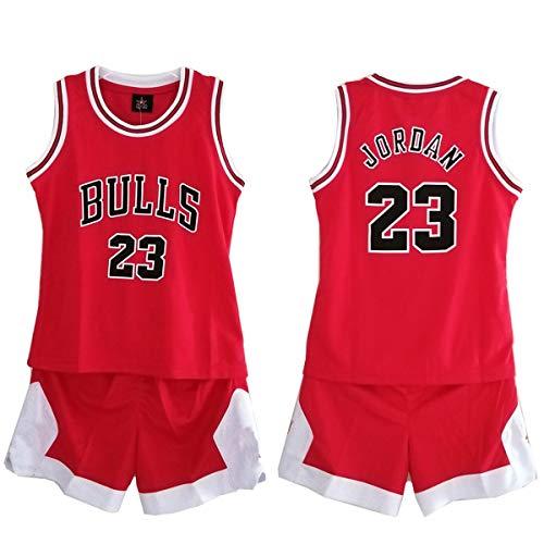 Daoseng Chico Niño NBA Michael Jordan # 23 Chicago Bulls Retro Pantalones Cortos de Baloncesto Camisetas de Verano Uniformes y Tops de Baloncesto Uniformes (Rojo, M/Altura 130-140cm)