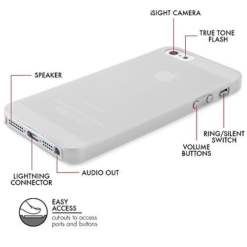 Original QUADOCTA® Tenuis Case für das iPhone SE / 5s / 5 in schwarz aus Polypropylen ULTRA SLIM 0,35mm Set: 1 x Schwarz, 1 x Weiss