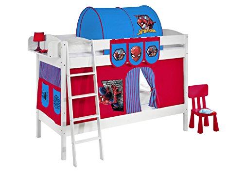 Etagenbetten Kinder Test : ▷ etagenbett ida 4105 spiderman weiss mit vorhang und lattenroste